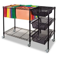 MOBILE FILE CART W/DRAWERS, 38W X 15.5D X 28H, BLACK