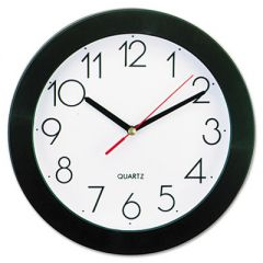 "BOLD ROUND WALL CLOCK, 9.75"" OVERALL DIAMETER, BLACK CASE, 1 AA (SOLD SEPARATELY)"