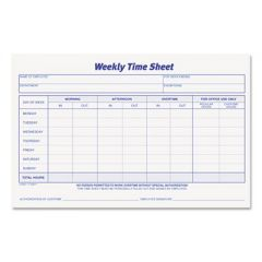 Weekly Time Sheets, 5 1/2 X 8 1/2, 50/pad, 2/pack