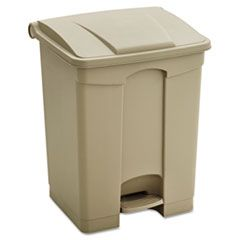 LARGE CAPACITY PLASTIC STEP-ON RECEPTACLE, 17 GAL, TAN