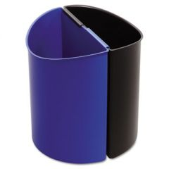 DESK-SIDE RECYCLING RECEPTACLE, 3 GAL, BLACK/BLUE