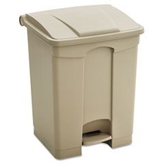 LARGE CAPACITY PLASTIC STEP-ON RECEPTACLE, 23 GAL, TAN