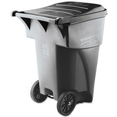 BRUTE ROLLOUT HEAVY-DUTY WASTE CONTAINER, SQUARE, POLYETHYLENE, 95 GAL, GRAY