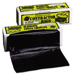 "HEAVYWEIGHT CONTRACTOR BAGS, 55 GAL, 3 MIL, 35"" X 56"", BLACK"