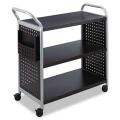 Scoot Three-Shelf Utility Cart, 31w X 18d X 38h, Black/silver