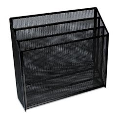 "DELUXE MESH THREE-TIER ORGANIZER, 3 SECTIONS, LETTER SIZE FILES, 12.63"" X 3.63"" X 11.5"", BLACK"