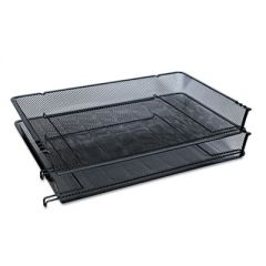 "Deluxe Mesh Stacking Side Load Tray, 1 Section, Legal Size Files, 17"" x 10.88"" x 2.5"", Black"