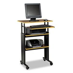 ADJUSTABLE HEIGHT STAND-UP WORKSTATION, 29.5W X 22D X 49H, CHERRY/BLACK