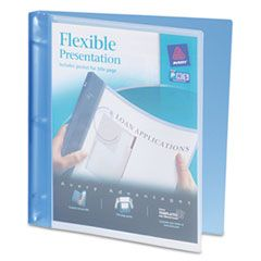 """FLEXIBLE VIEW BINDER WITH ROUND RINGS, 3 RINGS, 0.5"""" CAPACITY, 11 X 8.5, BLUE"""