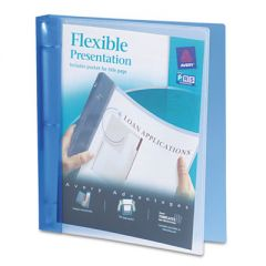"""FLEXIBLE VIEW BINDER WITH ROUND RINGS, 3 RINGS, 1"""" CAPACITY, 11 X 8.5, BLUE"""