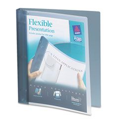 """FLEXIBLE VIEW BINDER WITH ROUND RINGS, 3 RINGS, 1"""" CAPACITY, 11 X 8.5, GRAY"""