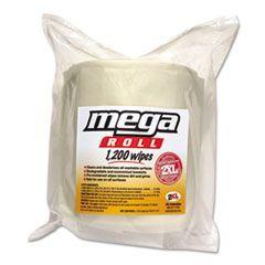 Gym Wipes Mega Roll Refill, 8 X 8, White, 1200/roll, 2 Rolls/carton