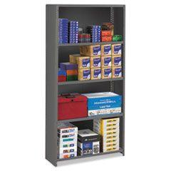 Closed Commercial Steel Shelving, Five-Shelf, 36w X 12d X 75h, Medium Gray