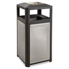 ASHTRAY-TOP EVOS SERIES STEEL WASTE CONTAINER, 38 GAL, BLACK