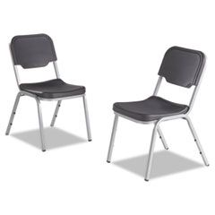 ROUGH 'N READY ORIGINAL STACK CHAIR, CHARCOAL SEAT/CHARCOAL BACK, SILVER BASE, 4/CARTON