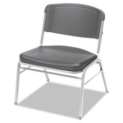 ROUGH 'N READY BIG AND TALL STACK CHAIR, CHARCOAL SEAT/CHARCOAL BACK, SILVER BASE, 4/CARTON