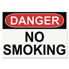 Osha Safety Signs, Danger No Smoking, White/red/black, 10 X 14