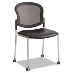 "DIAZ GUEST CHAIR, 19.5"" X 18.5"" X 33.5"", BLACK SEAT/BLACK BACK, SILVER BASE"