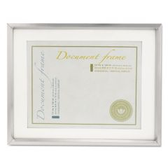 Plastic Document Frame W/mat, 11 X 14 & 8 1/2 X 11 Inserts, Metallic Silver