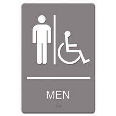 Ada Sign, Men Restroom Wheelchair Accessible Symbol, Molded Plastic, 6 X 9, Gray