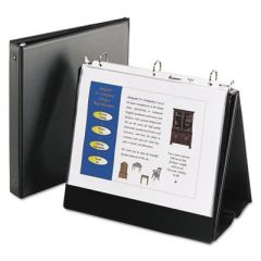"""EASEL PRESENTATION DURABLE BINDER WITH ROUND RINGS, 3 RINGS, 1"""" CAPACITY, 11 X 8.5, BLACK"""