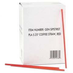 "Coffee Stirrers, Red/white, Plastic, 5 1/4"", 1000/box, 10 Boxes/carton"