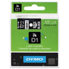 "D1 HIGH-PERFORMANCE POLYESTER REMOVABLE LABEL TAPE, 0.5"" X 23 FT, WHITE ON BLACK"