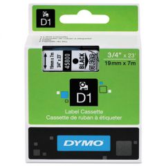 "D1 HIGH-PERFORMANCE POLYESTER REMOVABLE LABEL TAPE, 0.75"" X 23 FT, BLACK ON CLEAR"