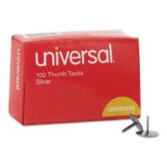 "Thumb Tacks, Steel, Silver, 5/16"", 100/box"