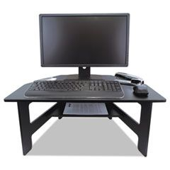HIGH RISE STAND-UP DESK CONVERTER, 28W X 23D X 12 TO 14.5H, BLACK
