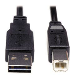 UNIVERSAL REVERSIBLE USB 2.0 CABLE, REVERSIBLE A TO B (M/M), 6 FT., BLACK