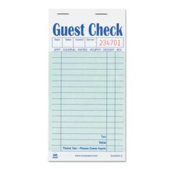 Guest Check Book, Carbon Duplicate, 3 1/2 X 6 7/10, 50/book, 50 Books/carton