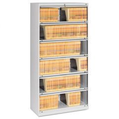 CLOSED FIXED SIX-SHELF LATERAL FILE, 36W X 16.5D X 75.25H, LIGHT GRAY