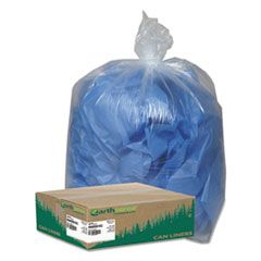 "LINEAR LOW DENSITY CLEAR RECYCLED CAN LINERS, 60 GAL, 1.5 MIL, 38"" X 58"", CLEAR, 100/CARTON"