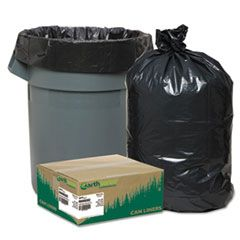 "LINEAR LOW DENSITY RECYCLED CAN LINERS, 60 GAL, 1.65 MIL, 38"" X 58"", BLACK, 100/CARTON"