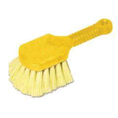"Long Handle Scrub, 8"" Plastic Handle, Gray Handle W/yellow Bristles"