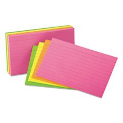 Ruled Neon Glow Index Cards, 5 X 8, Assorted, 100/pack