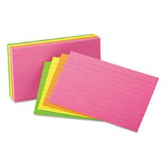 Ruled Neon Glow Index Cards, 4 X 6, Assorted, 100/pack