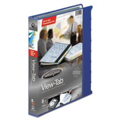 "VIEW-TAB PRESENTATION ROUND RING VIEW BINDER WITH TABS, 3 RINGS, 1"" CAPACITY, 11 X 8.5, BLUE"