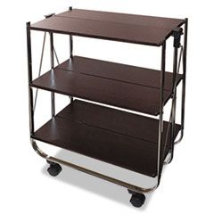 CLICK-N-FOLD UTILITY CART, 26.5W X 15.75D X 31.5H, CHROME/BROWN