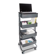 MULTI-USE STORAGE CART/STAND-UP WORKSTATION, 15.25W X 11.25D X 18.5 TO 39H, GRAY