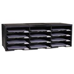Storex Literature Organizer, 12 Section, 10 5/8 X 13 3/10 X 31 2/5, Black