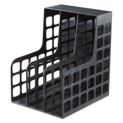 Plastic Magazine File, Two Snap-In Dividers, 9 X 10 5/8 X 12, Black