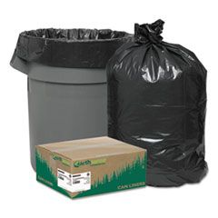 "LINEAR LOW DENSITY RECYCLED CAN LINERS, 45 GAL, 1.25 MIL, 40"" X 46"", BLACK, 100/CARTON"