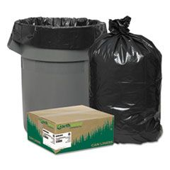 "LINEAR LOW DENSITY RECYCLED CAN LINERS, 45 GAL, 1.65 MIL, 40"" X 46"", BLACK, 100/CARTON"