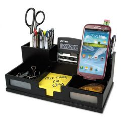 Midnight Black Desk Organizer With Smartphone Holder, 10 1/2 X 5 1/2 X 4, Wood