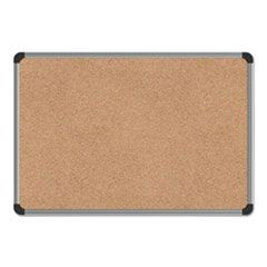 Cork Board With Aluminum Frame, 24 X 18, Natural, Silver Frame