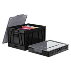 "COLLAPSIBLE CRATE, LETTER/LEGAL FILES, 17.25"" X 14.25"" X 10.5"", BLACK/GRAY, 2/PACK"