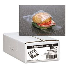 "JUMBO SANDWICH BAGS, 0.7 MIL, 5.5"" X 6.25"", CLEAR, 3,000/CARTON"