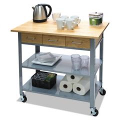 COUNTERTOP SERVING CART, 35.5W X 19.75D X 34.25H, SILVER/BROWN